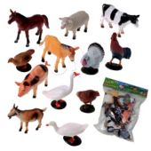 Plastic Farm Animals - 12 Pack