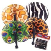 "Safari 9 3/4"" Folding Fans - 12 Pack"