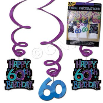 60th BIRTHDAY  VALUE PACK SWIRLS