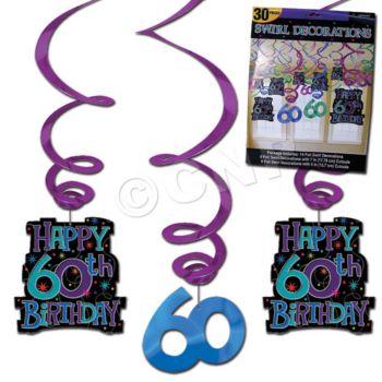 60th BIRTHDAY  VALUE PACK SWIRLS