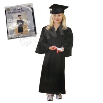 BLACK GRADUATION CAP AND GOWN