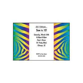 Funky Neon Zebra Persoanlized Invitations