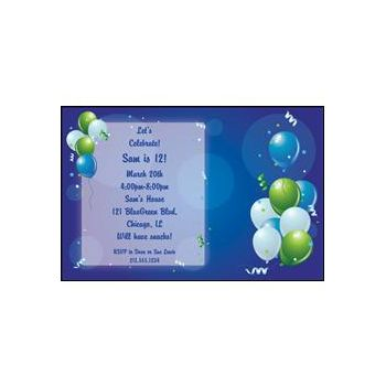 Blue Party Personalized Invitations