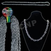 Silver Chain Link Bead Necklaces - 44 Inch, 12 Pack
