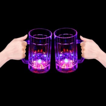 Flashing Multi-Color LED Beer Mug - 14 Ounce