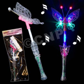 Flashing LED Butterfly Wand - 17.5 Inch
