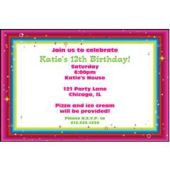 Colorful Glimmer Border  Custom Invitations