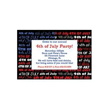4th of July Pride Personalized Invitations