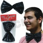 Black Sequin Bow Tie