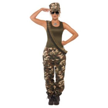 Khaki Camo Lady Adult Costume
