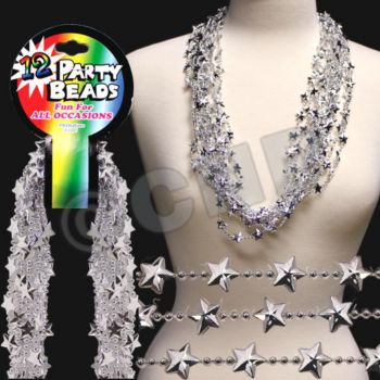 Silver Star Bead Necklaces - 33 Inch, 12 Pack