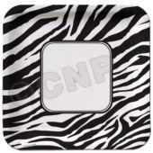 """Zebra Print 10"""" Square Plates"""