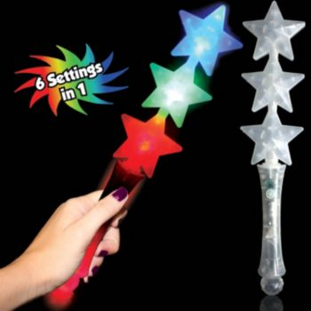 Multi-Color Triple Star LED Wand - 12.75 Inch