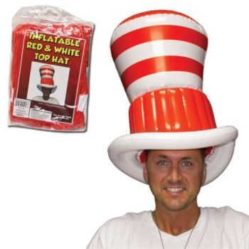 Red and White Stripe Inflatable Hat - 20 Inch
