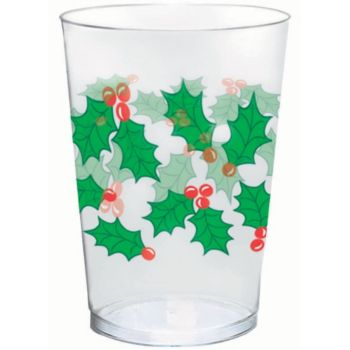 Holly Christmas 10 oz. Plastic Cups