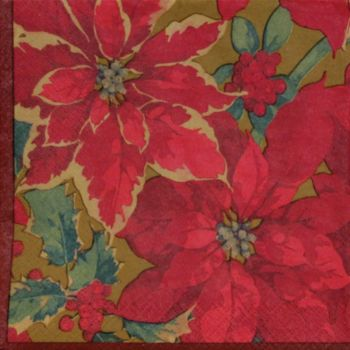 Poinsettia Elegance  Lunch Napkins