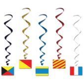 Nautical Flag Whirl Decorations-5 Pack