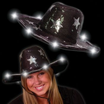 Silver Star LED Sequin Cowboy Hat