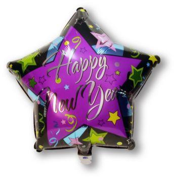 Happy New Year Star Shaped Balloon - 18 Inch