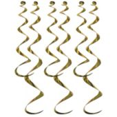 Gold Twirly Whirly Decorations-6 Pack