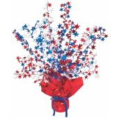 Red, White and Blue Gleam and Burst Centerpiece-15""