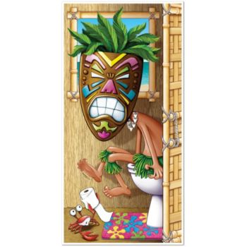 Tiki Man Bathroom Door Cover