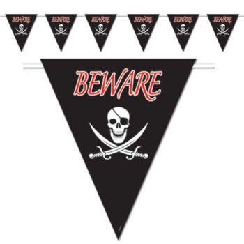 Beware Pirate Pennant Banner