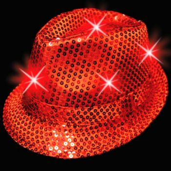 Red LED Sequin Fedora