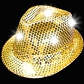 Gold LED Sequin Fedora
