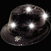 Black LED Sequin Fedora