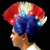 Patriotic LED and Light-Up Mohawk Wig