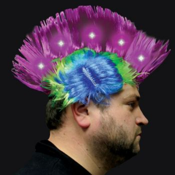 Multi-Color Neon LED Mohawk Wig