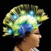 Yellow LED and Light-Up Mohawk Wig