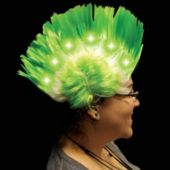 Green And White LED and Light-Up Mohawk Wig