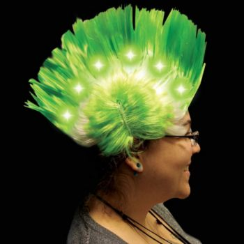Green and White LED Mohawk Wig