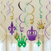 Mardi Gras Swirls Decorations-12 Pack