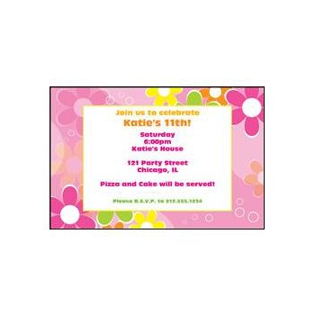 Retro Pink Flowers Personalized Invitations