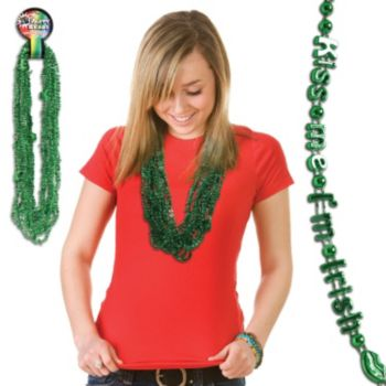 Kiss Me I'm Irish Bead Necklaces - 33 inch, 12 Pack