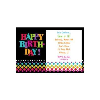 Bday Dots Personalized Invitations