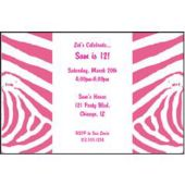 Pink Zebra Print Personalized Invitations