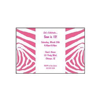 Pink Zebra Print Personalized Invitations