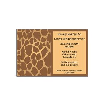 Giraffe Print Personalized Invitations