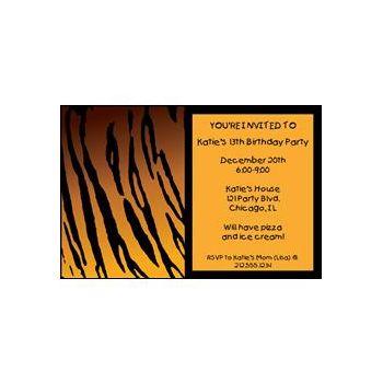 Tiger Print Personalized Invitations