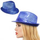 Blue Sequin Fedora