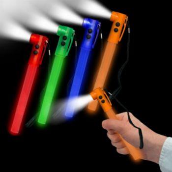 Orange LED Whistle Safety Lightstick - 8 Inch, 24 Pack