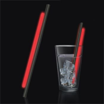 Red Glow Motion Straws - 9 Inch, 25 Pack