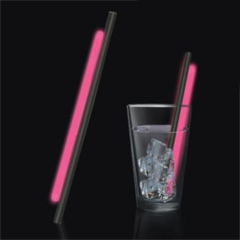 Pink Glow Motion Straws - 9 Inch, 25 Pack