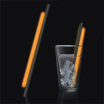 Orange Glow Motion Straws - 9 Inch, 25 Pack