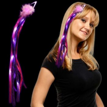 Purple and Pink LED Ribbon Fascinator - 15 Inch