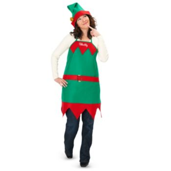 Elf Holiday Apron and Hat  Adult